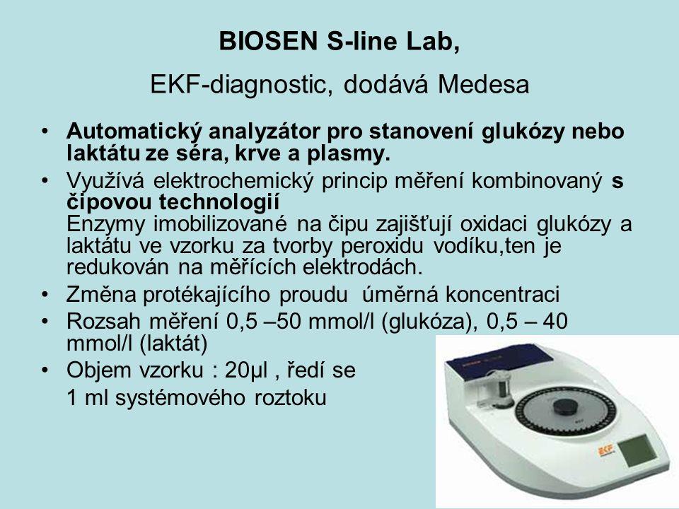 BIOSEN S-line Lab, EKF-diagnostic, dodává Medesa Automatický analyzátor pro stanovení glukózy nebo laktátu ze séra, krve a plasmy.