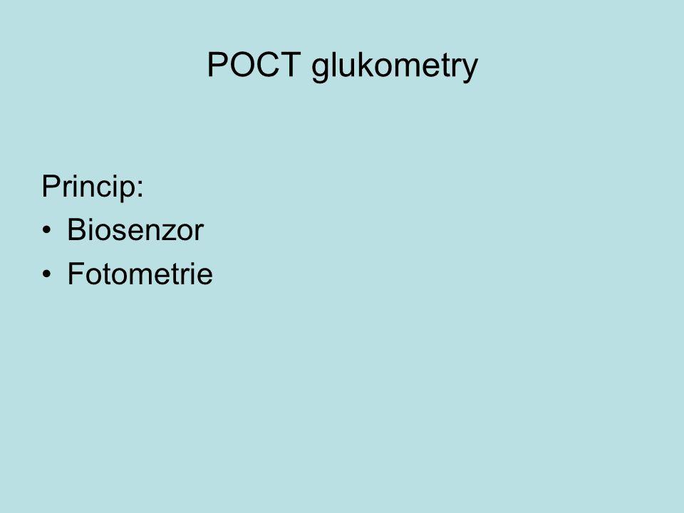 POCT glukometry Princip: Biosenzor Fotometrie