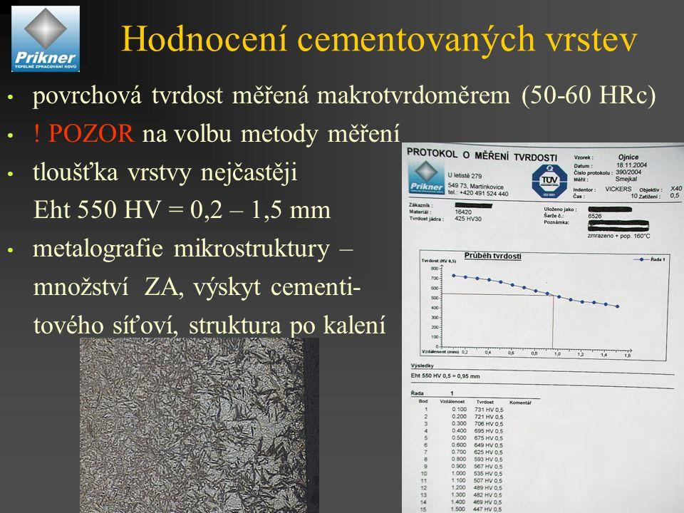 Hodnocení cementovaných vrstev povrchová tvrdost měřená makrotvrdoměrem (50-60 HRc) .