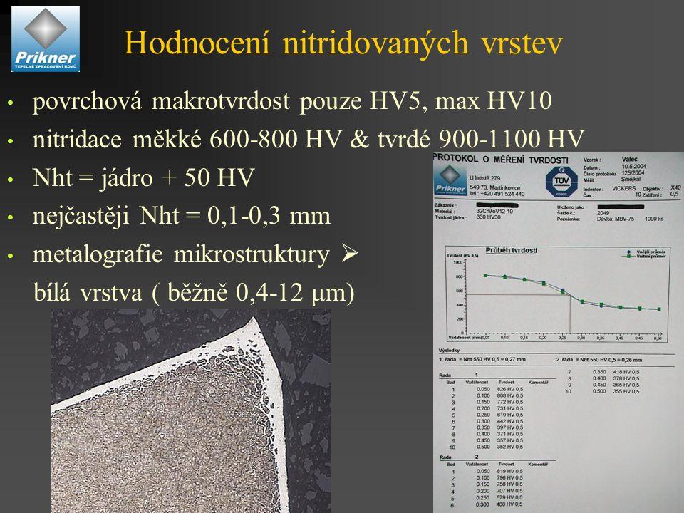 Hodnocení nitridovaných vrstev povrchová makrotvrdost pouze HV5, max HV10 nitridace měkké 600-800 HV & tvrdé 900-1100 HV Nht = jádro + 50 HV nejčastěji Nht = 0,1-0,3 mm metalografie mikrostruktury  bílá vrstva ( běžně 0,4-12 μm)