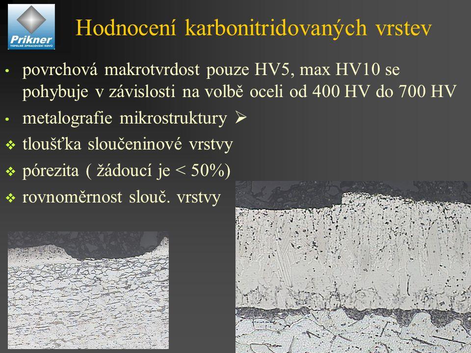 Hodnocení karbonitridovaných vrstev povrchová makrotvrdost pouze HV5, max HV10 se pohybuje v závislosti na volbě oceli od 400 HV do 700 HV metalografie mikrostruktury   tloušťka sloučeninové vrstvy  pórezita ( žádoucí je < 50%)  rovnoměrnost slouč.