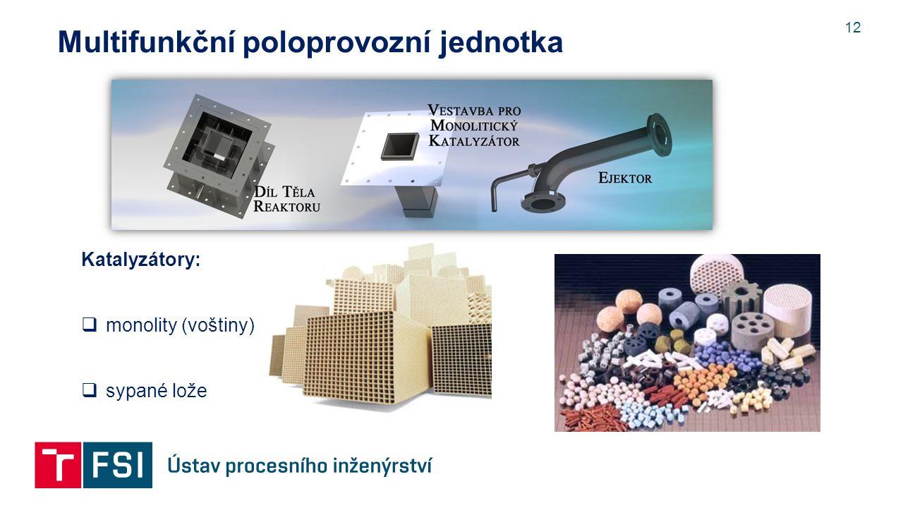 12 Multifunkční poloprovozní jednotka Katalyzátory:  monolity (voštiny)  sypané lože