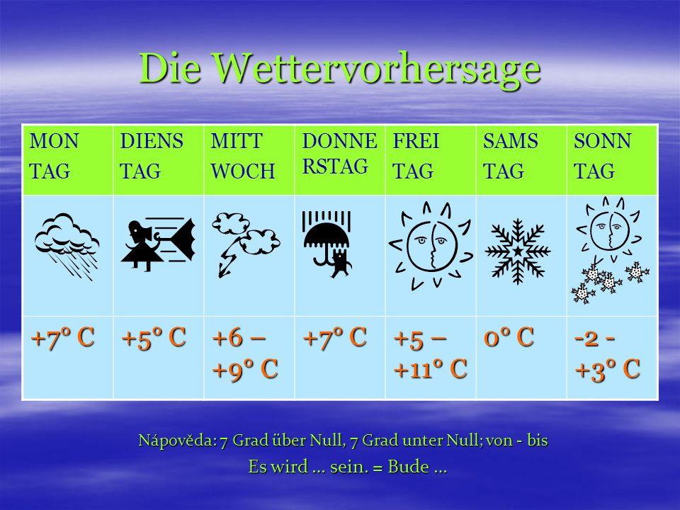 Die Wettervorhersage MON TAG DIENS TAG MITT WOCH DONNE RSTAG FREI TAG SAMS TAG SONN TAG +7° C +5° C +6 – +9° C +7° C +5 – +11° C 0° C -2 - +3° C Nápověda: 7 Grad über Null, 7 Grad unter Null; von - bis Es wird … sein.