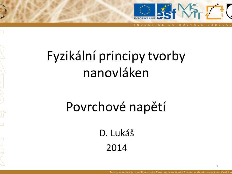 Fyzikální principy tvorby nanovláken Povrchové napětí D. Lukáš 2014 1