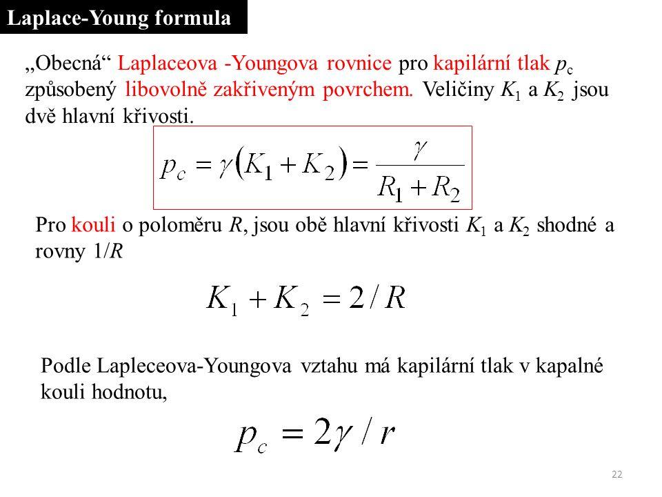 """""""Obecná Laplaceova -Youngova rovnice pro kapilární tlak p c způsobený libovolně zakřiveným povrchem."""