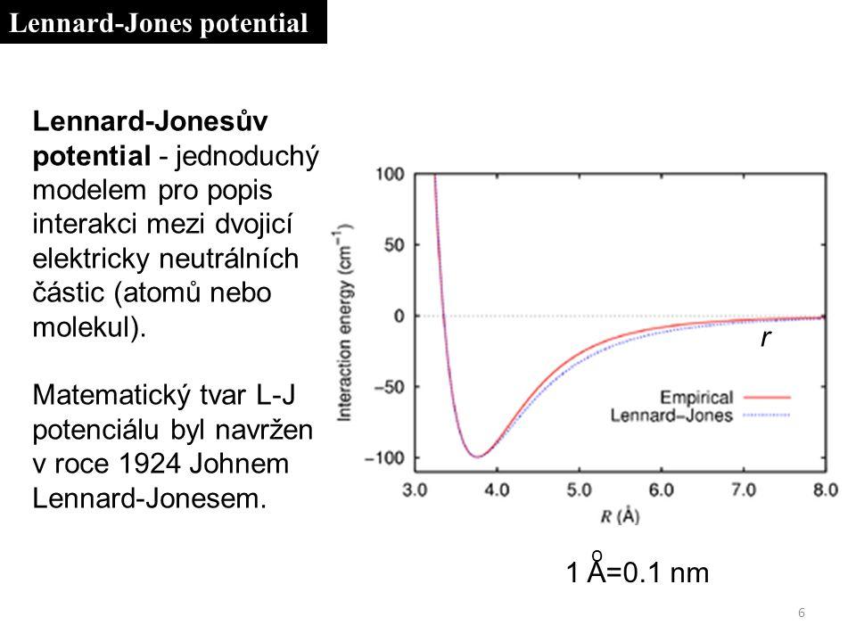 Lennard-Jonesův potential - jednoduchý modelem pro popis interakci mezi dvojicí elektricky neutrálních částic (atomů nebo molekul).