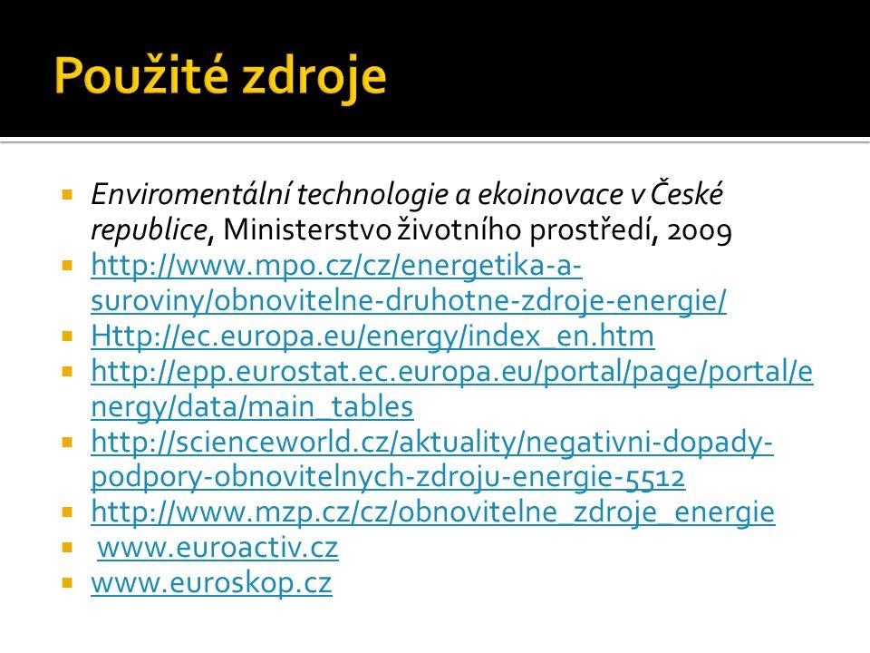  Enviromentální technologie a ekoinovace v České republice, Ministerstvo životního prostředí, 2009  http://www.mpo.cz/cz/energetika-a- suroviny/obno