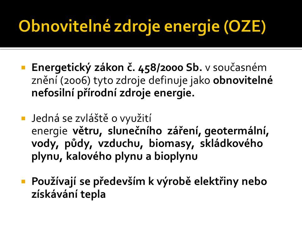  Energetický zákon č. 458/2000 Sb. v současném znění (2006) tyto zdroje definuje jako obnovitelné nefosilní přírodní zdroje energie.  Jedná se zvláš