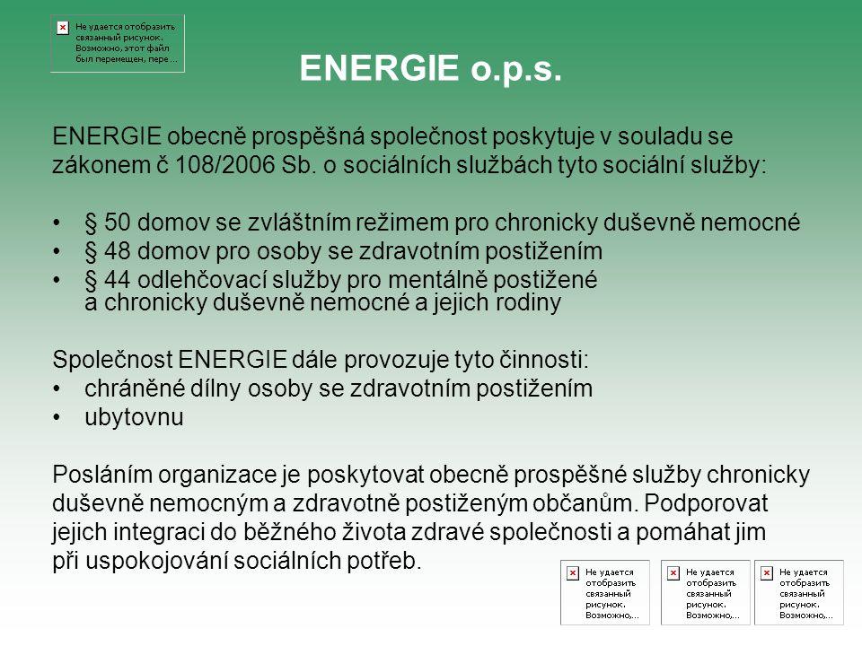 ENERGIE obecně prospěšná společnost poskytuje v souladu se zákonem č 108/2006 Sb. o sociálních službách tyto sociální služby: § 50 domov se zvláštním