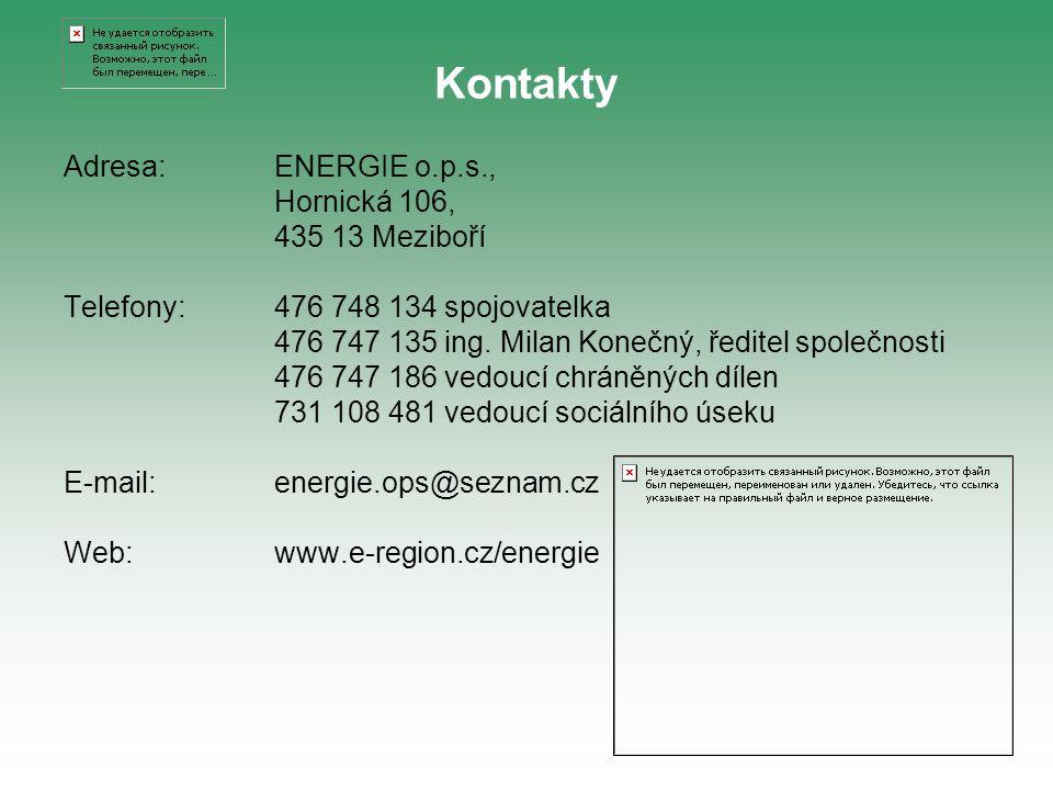 Adresa:ENERGIE o.p.s., Hornická 106, 435 13 Meziboří Telefony:476 748 134 spojovatelka 476 747 135 ing. Milan Konečný, ředitel společnosti 476 747 186