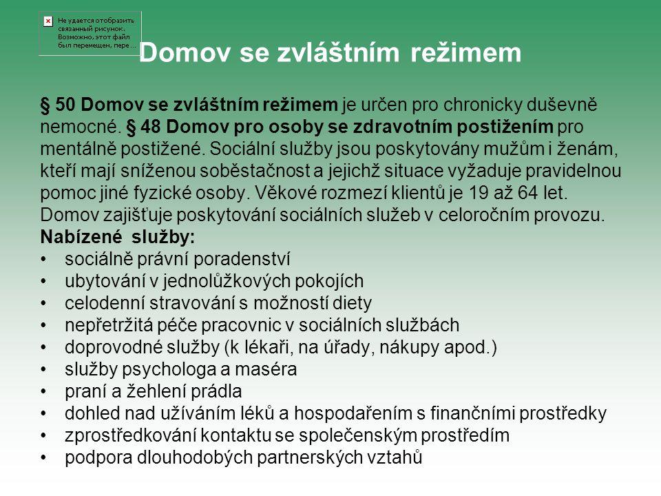 § 50 Domov se zvláštním režimem je určen pro chronicky duševně nemocné. § 48 Domov pro osoby se zdravotním postižením pro mentálně postižené. Sociální