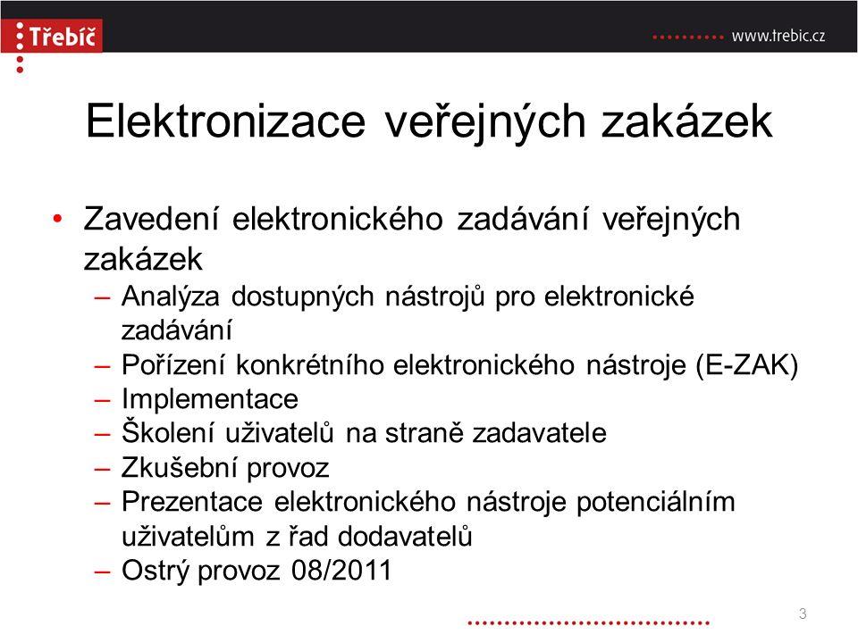Elektronizace veřejných zakázek Zavedení elektronického zadávání veřejných zakázek –Analýza dostupných nástrojů pro elektronické zadávání –Pořízení konkrétního elektronického nástroje (E-ZAK) –Implementace –Školení uživatelů na straně zadavatele –Zkušební provoz –Prezentace elektronického nástroje potenciálním uživatelům z řad dodavatelů –Ostrý provoz 08/2011 3