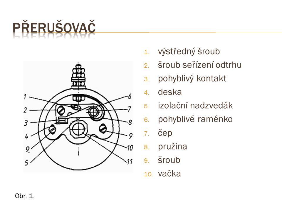 Obr. 1. 1. výstředný šroub 2. šroub seřízení odtrhu 3. pohyblivý kontakt 4. deska 5. izolační nadzvedák 6. pohyblivé raménko 7. čep 8. pružina 9. šrou
