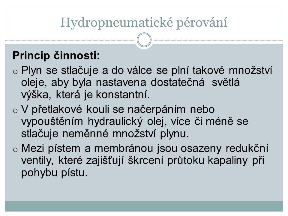 Hydropneumatické pérování Princip činnosti: o Plyn se stlačuje a do válce se plní takové množství oleje, aby byla nastavena dostatečná světlá výška, k