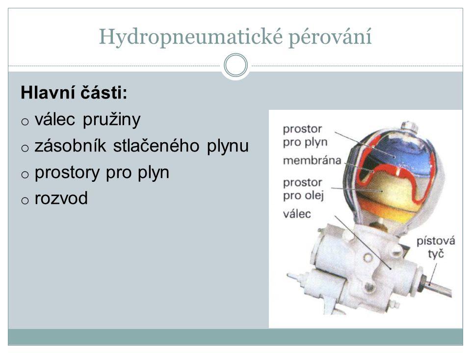 Hydropneumatické pérování Hlavní části: o válec pružiny o zásobník stlačeného plynu o prostory pro plyn o rozvod