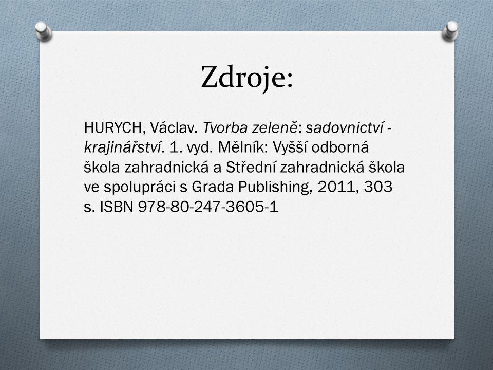 Zdroje: HURYCH, Václav. Tvorba zeleně: sadovnictví - krajinářství.