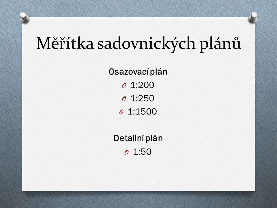 Měřítka sadovnických plánů Osazovací plán O 1:200 O 1:250 O 1:1500 Detailní plán O 1:50