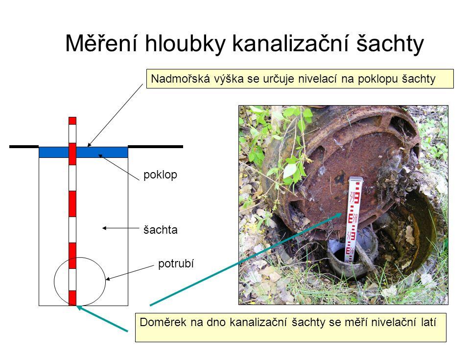 Doměrek na dno kanalizační šachty se měří nivelační latí Nadmořská výška se určuje nivelací na poklopu šachty poklop šachta potrubí Měření hloubky kanalizační šachty
