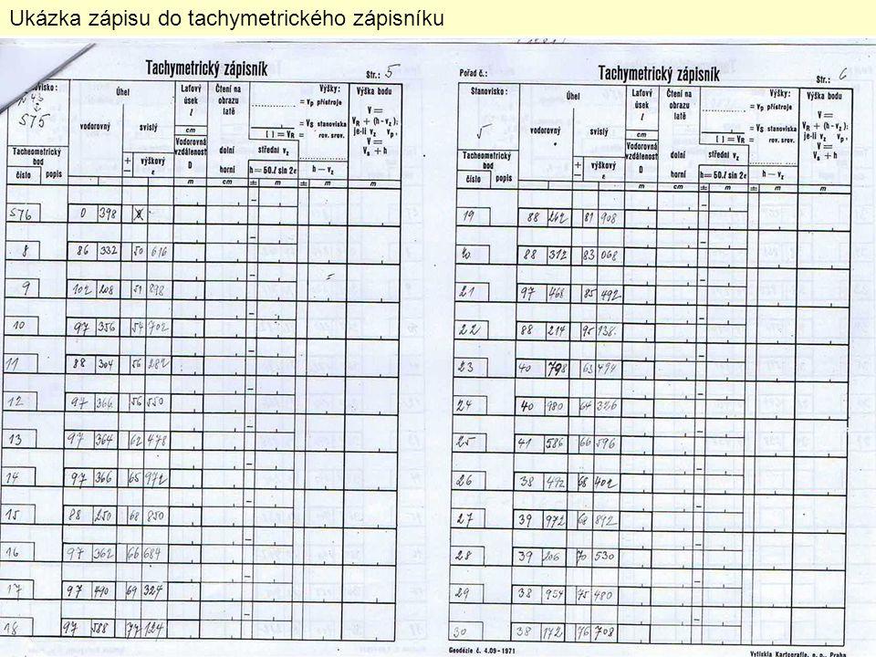 Ukázka zápisu do tachymetrického zápisníku