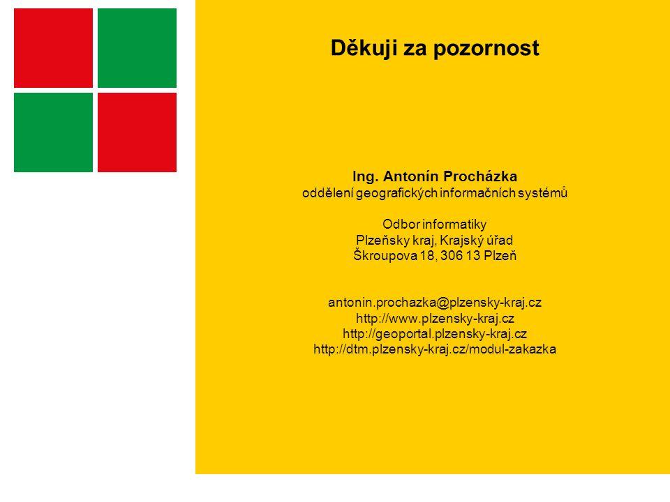 Děkuji za pozornost Ing. Antonín Procházka oddělení geografických informačních systémů Odbor informatiky Plzeňsky kraj, Krajský úřad Škroupova 18, 306