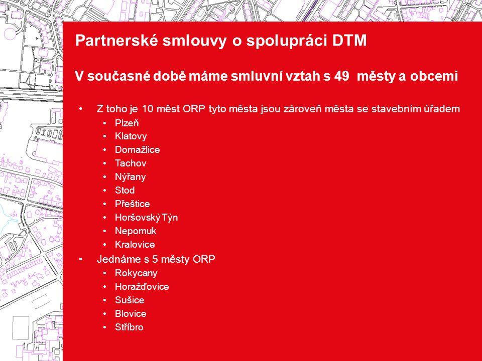 Partnerské smlouvy o spolupráci DTM V současné době máme smluvní vztah s 49 městy a obcemi Z toho je 10 měst ORP tyto města jsou zároveň města se stav