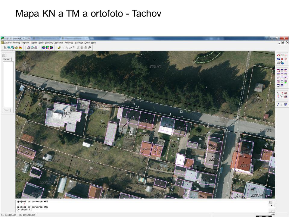 Mapa KN a TM a ortofoto - Tachov