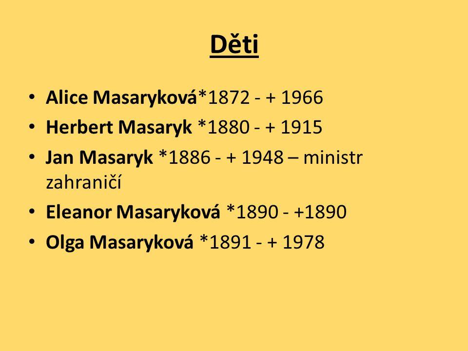 Děti Alice Masaryková*1872 - + 1966 Herbert Masaryk *1880 - + 1915 Jan Masaryk *1886 - + 1948 – ministr zahraničí Eleanor Masaryková *1890 - +1890 Olga Masaryková *1891 - + 1978