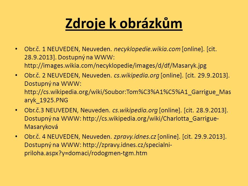 Zdroje k obrázkům Obr.č. 1 NEUVEDEN, Neuveden. necyklopedie.wikia.com [online]. [cit. 28.9.2013]. Dostupný na WWW: http://images.wikia.com/necyklopedi