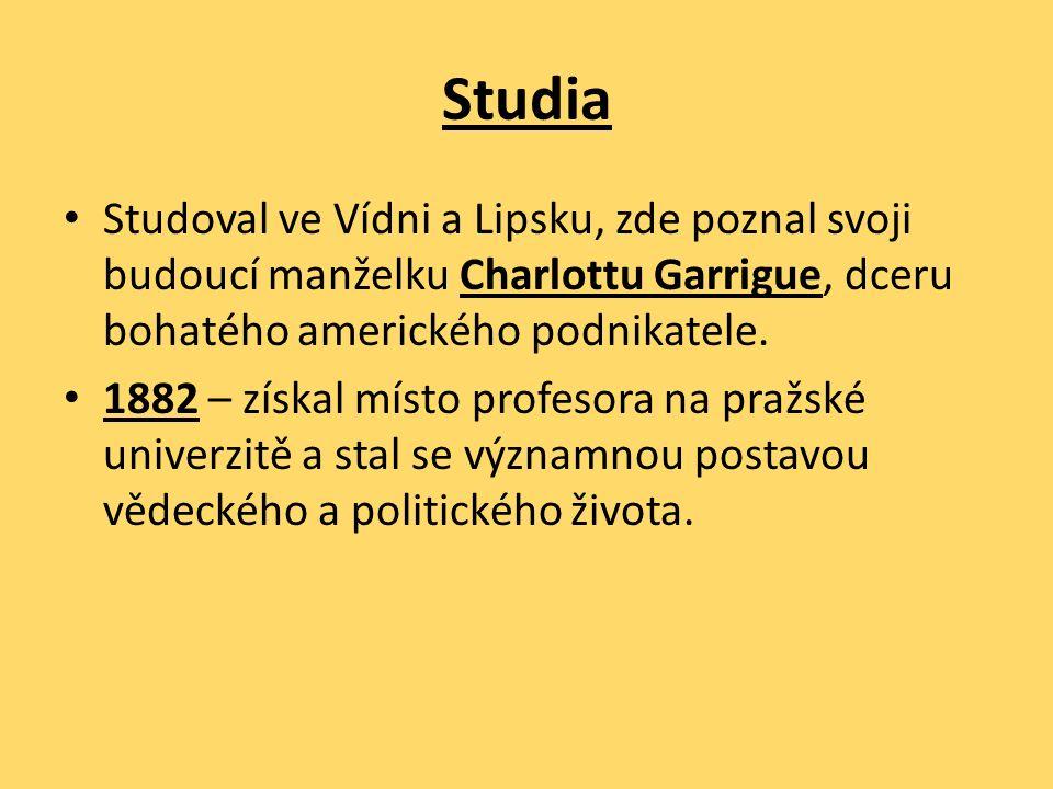 Studia Studoval ve Vídni a Lipsku, zde poznal svoji budoucí manželku Charlottu Garrigue, dceru bohatého amerického podnikatele. 1882 – získal místo pr
