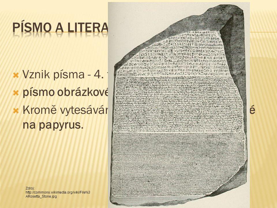  Vznik písma - 4. tisíciletí př. n. l.  písmo obrázkové = hieroglyfy  Kromě vytesávání do kamene psali Egypťané na papyrus. Zdroj: http://commons.w