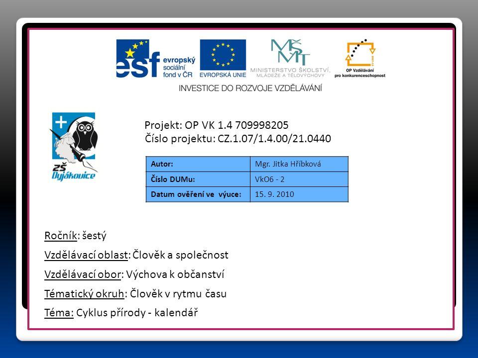 Autor:Mgr. Jitka Hříbková Číslo DUMu:VkO6 - 2 Datum ověření ve výuce:15.