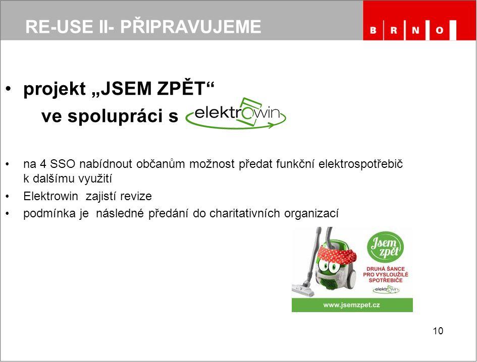 """RE-USE II- PŘIPRAVUJEME projekt """"JSEM ZPĚT"""" ve spolupráci s na 4 SSO nabídnout občanům možnost předat funkční elektrospotřebič k dalšímu využití Elekt"""