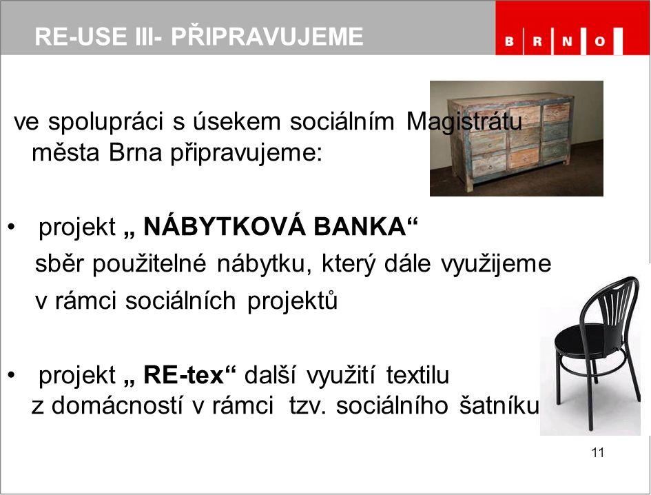 """RE-USE III- PŘIPRAVUJEME ve spolupráci s úsekem sociálním Magistrátu města Brna připravujeme: projekt """" NÁBYTKOVÁ BANKA sběr použitelné nábytku, který dále využijeme v rámci sociálních projektů projekt """" RE-tex další využití textilu z domácností v rámci tzv."""