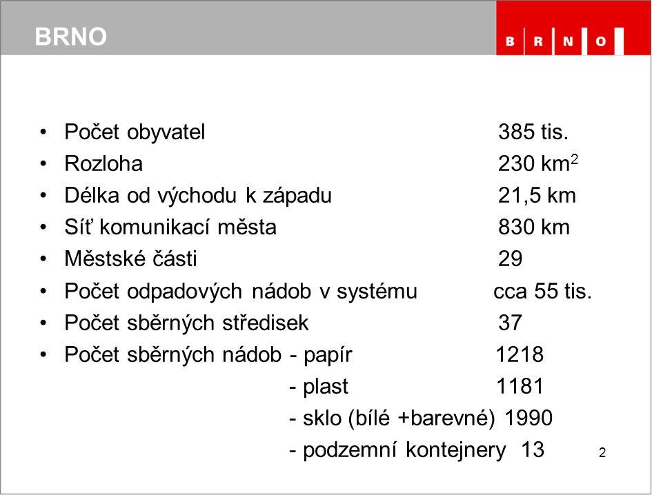3 SSO Brno 3 pilíře systému nakládání s odpadem od občanů v Brně: svoz komunálního odpadu z popelnic svoz separovaného odpadu sběrná střediska odpadů