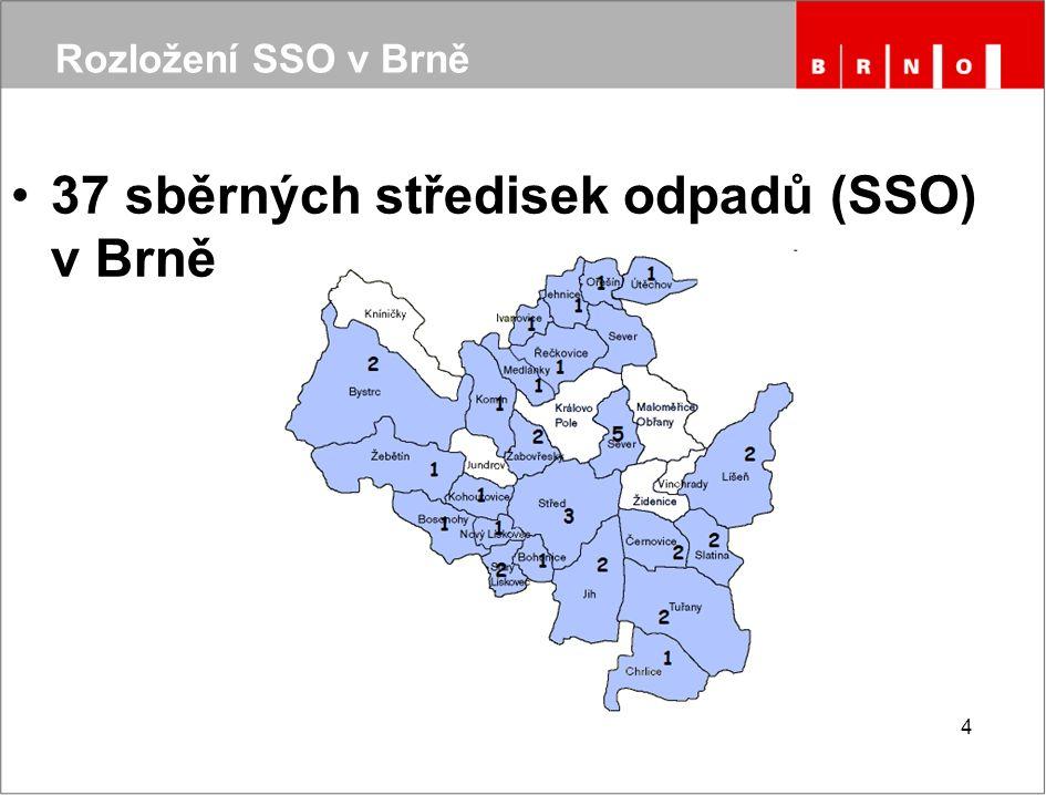 4 37 sběrných středisek odpadů (SSO) v Brně Rozložení SSO v Brně