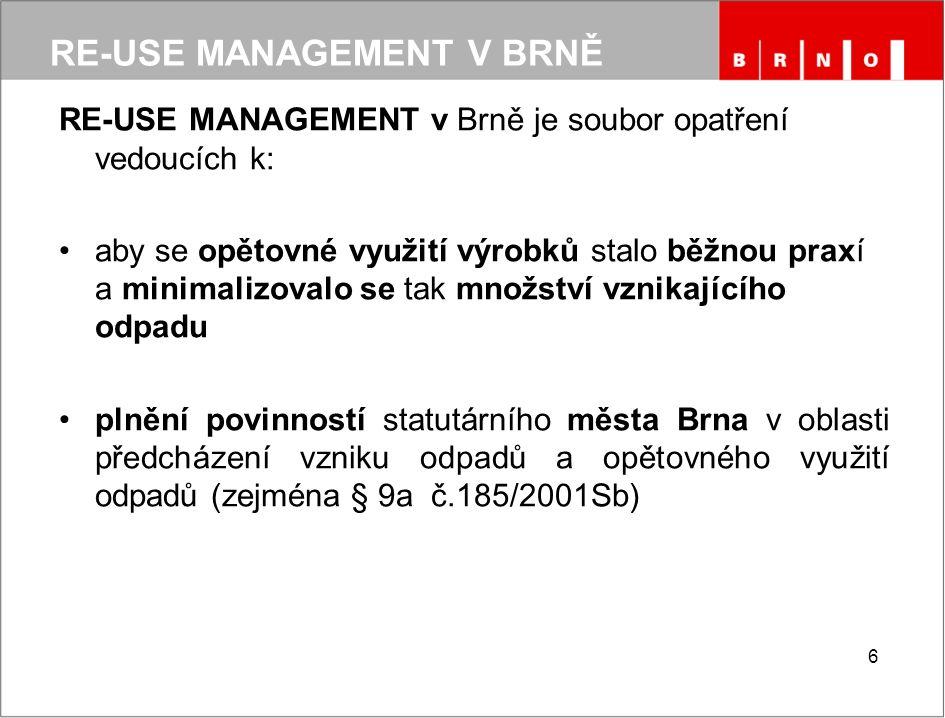 RE-USE MANAGEMENT V BRNĚ RE-USE MANAGEMENT v Brně je soubor opatření vedoucích k: aby se opětovné využití výrobků stalo běžnou praxí a minimalizovalo