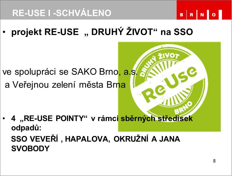 """projekt RE-USE """" DRUHÝ ŽIVOT"""" na SSO ve spolupráci se SAKO Brno, a.s. a Veřejnou zelení města Brna 4 """"RE-USE POINTY"""" v rámci sběrných středisek odpadů"""