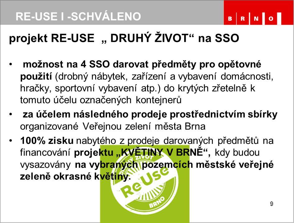 """projekt RE-USE """" DRUHÝ ŽIVOT na SSO možnost na 4 SSO darovat předměty pro opětovné použití (drobný nábytek, zařízení a vybavení domácnosti, hračky, sportovní vybavení atp.) do krytých zřetelně k tomuto účelu označených kontejnerů za účelem následného prodeje prostřednictvím sbírky organizované Veřejnou zelení města Brna 100% zisku nabytého z prodeje darovaných předmětů na financování projektu """"KVĚTINY V BRNĚ , kdy budou vysazovány na vybraných pozemcích městské veřejné zeleně okrasné květiny."""