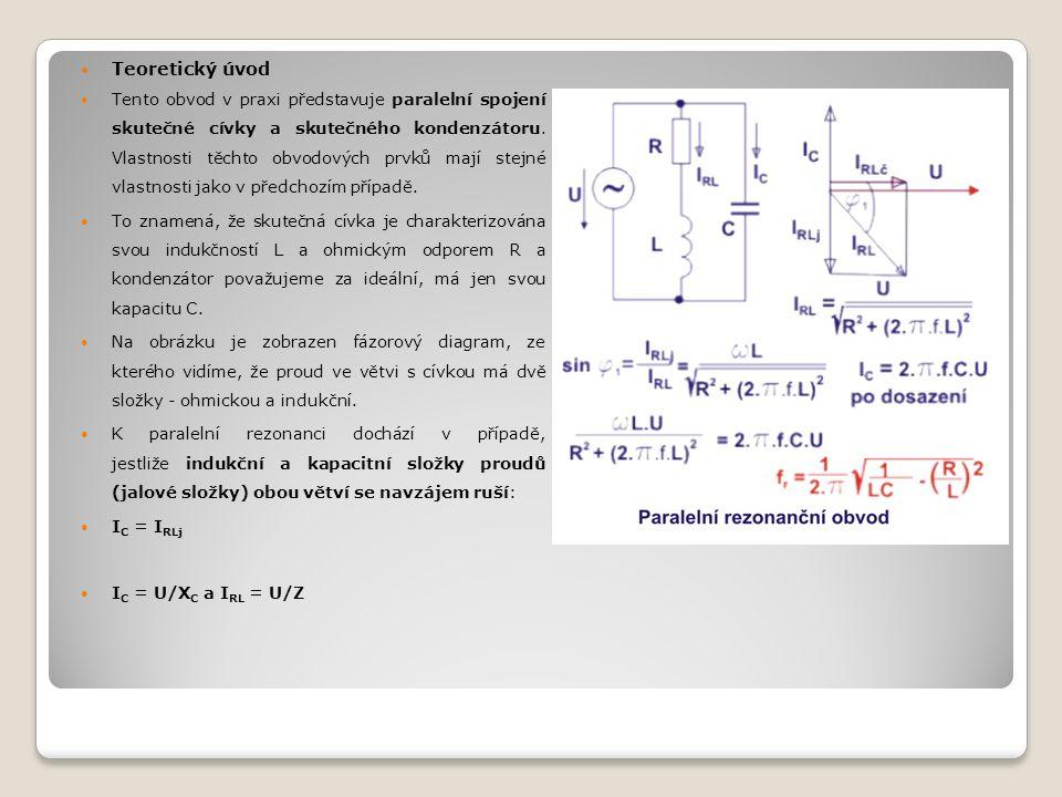 Teoretický úvod Tento obvod v praxi představuje paralelní spojení skutečné cívky a skutečného kondenzátoru.