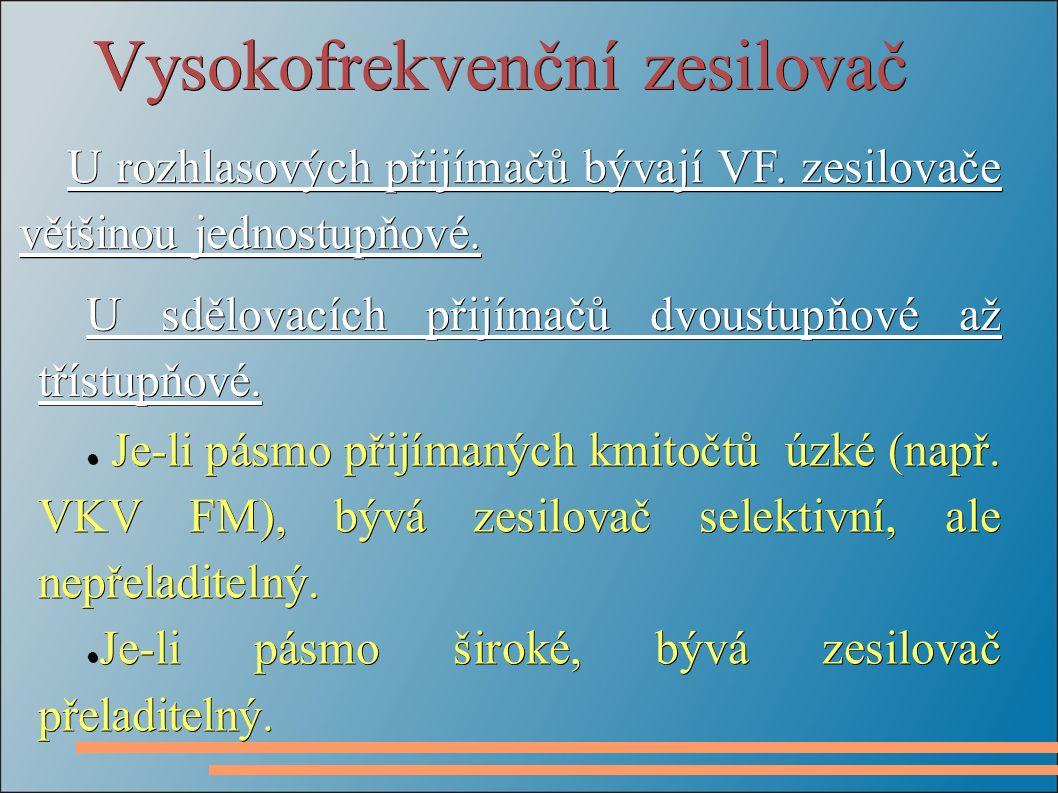 Vysokofrekvenční zesilovač U rozhlasových přijímačů bývají VF. zesilovače většinou jednostupňové. ● Je-li pásmo přijímaných kmitočtů úzké (např. VKV F