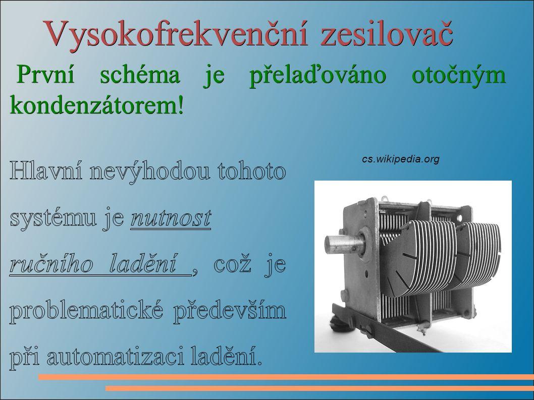 Vysokofrekvenční zesilovač První schéma je přelaďováno otočným kondenzátorem! cs.wikipedia.org