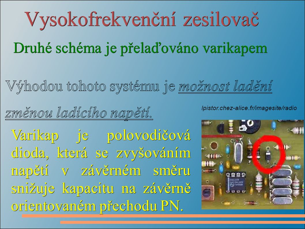 Vysokofrekvenční zesilovač Druhé schéma je přelaďováno varikapem Druhé schéma je přelaďováno varikapem Varikap je polovodičová dioda, která se zvyšováním napětí v závěrném směru snižuje kapacitu na závěrně orientovaném přechodu PN.