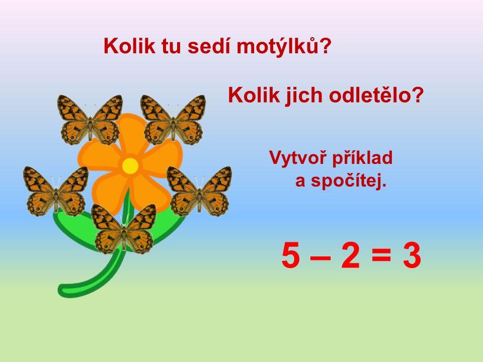 Kolik tu sedí motýlků Kolik jich odletělo Vytvoř příklad a spočítej. 5 – 2 = 3