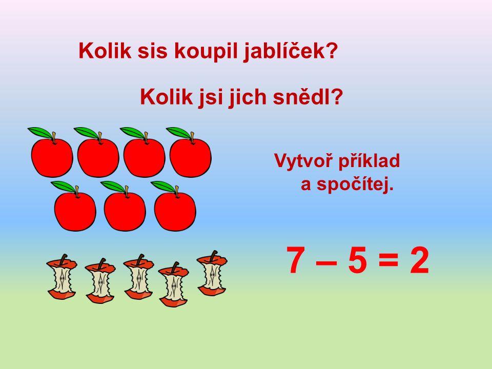 Kolik sis koupil jablíček Kolik jsi jich snědl Vytvoř příklad a spočítej. 7 – 5 = 2