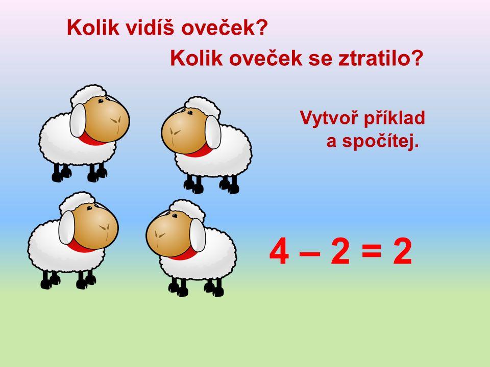 Kolik vidíš oveček Kolik oveček se ztratilo Vytvoř příklad a spočítej. 4 – 2 = 2