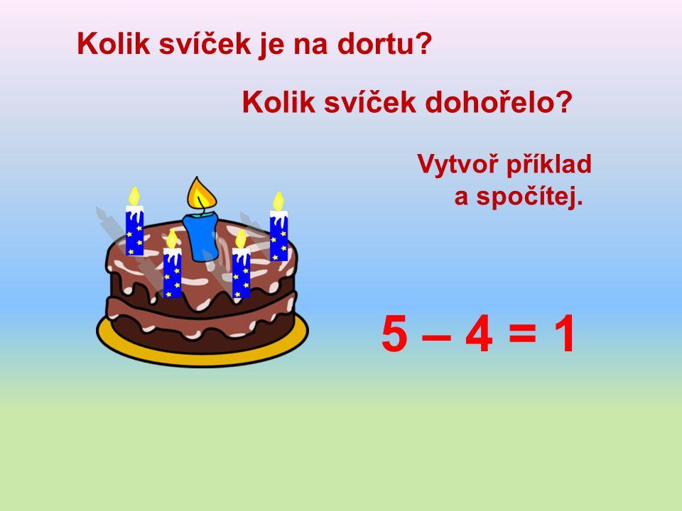 Kolik svíček je na dortu Kolik svíček dohořelo Vytvoř příklad a spočítej. 5 – 4 = 1