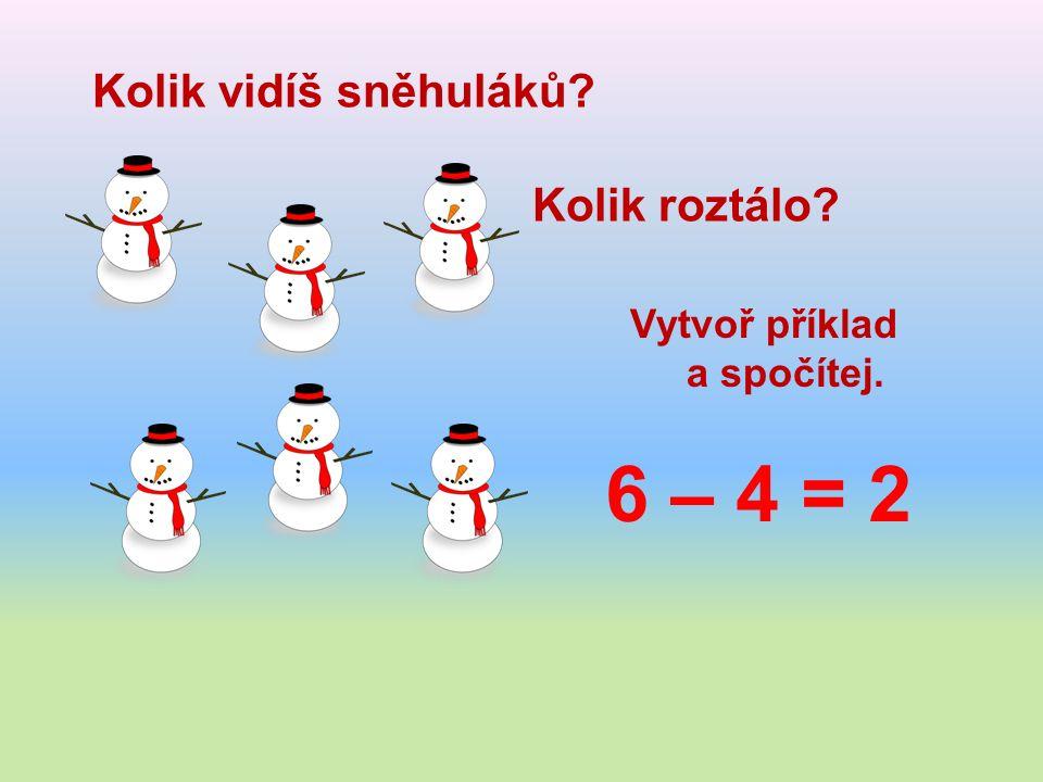 Kolik vidíš sněhuláků Kolik roztálo Vytvoř příklad a spočítej. 6 – 4 = 2