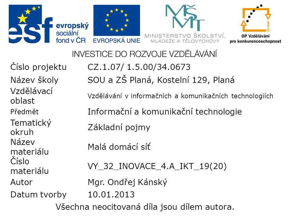 Číslo projektuCZ.1.07/ 1.5.00/34.0673 Název školySOU a ZŠ Planá, Kostelní 129, Planá Vzdělávací oblast Vzdělávání v informačních a komunikačních technologiích Předmět Informační a komunikační technologie Tematický okruh Základní pojmy Název materiálu Malá domácí síť Číslo materiálu VY_32_INOVACE_4.A_IKT_19(20) AutorMgr.
