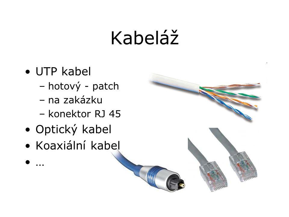 Kabeláž UTP kabel –hotový - patch –na zakázku –konektor RJ 45 Optický kabel Koaxiální kabel …
