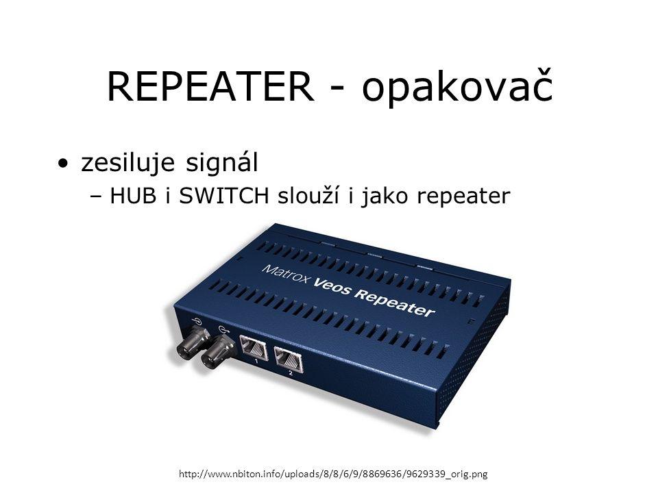 REPEATER - opakovač zesiluje signál –HUB i SWITCH slouží i jako repeater http://www.nbiton.info/uploads/8/8/6/9/8869636/9629339_orig.png